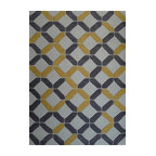 Rug - ~8 ft' x 11 ft' Large Grey/Yellow Transitional Living Room Area Rug, Hand Woven - Living Room Hand-tufted Shaggy Area Rug