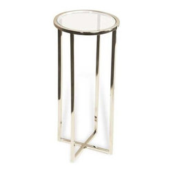 Interlude Home - Interlude Home Zander Round Drink Table - This Interlude Home Round Drink Table is crafted from Stainless Steel and Glass and finished in Polished Nickel.  Overall size is:  9 in. W x  9 in. D x 21 in. H.