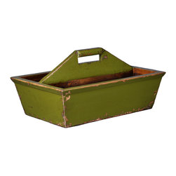 Antique Revival - Green 2 Open Caddy - The 2 Open Caddy is a great way to add a personalized touch to empty space on an end table, kitchen counter of bookshelf. The lightly distressed finish and handmade appeal help add a country vibe to any room. It's an attractive way to store small knick knacks or arrange fake flowers. The bright green paint color provides a nice splash of color. Newly made.