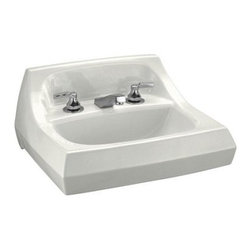"""Kohler - Kohler K-2005-0 White Kingston Kingston 21-1/4"""" Wall Mount Bathroom - Product Features:Rectangular basin gives a classically clean look to your bathroom countertopCovered under Kohler s limited lifetime sink warrantyConstructed of Vitreous china providing a classic look and feelStands up to high-volume usageUltra-thick enamel resists staining, scratching and chippingWall mount installation allows freedom to position sink at any desired locationCenter drain location provides optimal draining capabilityEquipped with overflow drain - works in tandem with the primary to prevent an overflow or spillageAll hardware needed for installation includedProduct Technologies / Benefits:Wall Mount Sinks: A space saving option, while, at the same time delivering a sleek installed appearance, gives your bathroom an expressive statement.Product Specifications:Height: 12-1/4"""" (measured from the bottom of sink to the top of the rim)Overall Width: 18-1/8"""" (measured from the back outer rim to the front outer rim)Overall Length: 21-1/4"""" (measured from the left outer rim to the right outer rim)Basin Width: 10"""" (measured from the back inner rim to the front inner rim)Basin Length: 16"""" (measured from the left inner rim to the right inner rim)Basin Depth: 3-1/8"""" (measured from the center of basin to the rim)Installation Type: Wall mountNumber of Faucet Holes: 3Drain Outlet Connection: 1-3/4""""Variations:K-2005: This modelK-2007: Single hole version of this modelK-2006: 8"""" faucet center version of this model"""