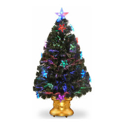 36 In. Fiber Optic Fireworks Christmas Tree with Clear Star and LEDs - Measures 36 inch high with a 20 inch diameter. For indoor use only. Features top star. Tip count: 115. Gold column base. Lit multicolor star decorations. Single bulb operation from base. Includes AC adapter.