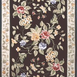 Momeni - Momeni Spencer Black Flowers Traditional 2' x 3' Rug by RugLots - Spencer is a casual collection of hand-hooked rugs featuring soft floral, country, and contemporary designs. Made in China of 100% wool.