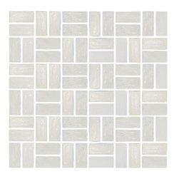 """Susan Jablon Mosaics - Icy White Transparent Glass Tile - 1"""" x 2"""" hand made icy white transparent glass mosaic tile. Delicate and contemporary this neutral stunner will work with any counter top.This icy clear white transparent subway glass tile is a mix of clear and opaque white streaks. With it's slightly rough edges it gives a wonderfully natural, organic feel anywhere it's used.These stylish glass tiles are the design idea you are searching for. With a slightly irregular, beveled edge and in a wide range of colors, sizes, and finishes, these tiles complement any design goal from warm rustic, to chic retro, to elegant contemporary. Use these tiles today for your new or remodeled kitchen backsplash, bathroom or any wall in your home or business. It is very easy to install as it comes by the square foot on mesh and it is very easy to clean! About a decade ago, Susan Jablon re-ignited her life-long passion for mosaics and has built a customer-focused, artist-driven, business offering you the very best in glass and decorative tiles and mosaics. We are a glass tile store committed to excellence both personally and professionally. With lines of 100% SCS Qualified recycled tile, 12 colors and 6 shapes of mirror, semi precious turquoise stones from Arizona mines, to color changing dichroic glass. Stainless steel tiles in 8mm and 4mm and 12 designs within each, and anything you can dream of. Please note that the images shown are actual photographs of the tiles however, colors may vary due to the calibration of each individual monitor. Please note that the images shown are actual photographs of the tiles however, colors may vary due to the calibration of each individual monitor. Ordering samples of the tiles to verify color is strongly recommended."""