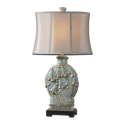 Uttermost - Norrisia Light Blue Table Lamp - Delicate bell-shaped blooms give this table lamp its fresh appeal. The pale blue ceramic body boasts touches of silver leaf, perfectly topped off with a silken linen panel shade.