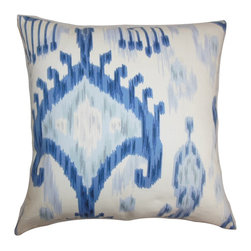 """The Pillow Collection - Talisha Ikat Pillow Blue White - Present a bold and refreshing design in your interiors by decorating this ikat throw pillow. The artsy ikat pattern comes in shades of blue and white. This square pillow creates a savvy look in any rooms. Mix and match this 18"""" pillow with other ikat prints from our pillow collection. Fluffy and soft, this 100% cotton-made pillow is made to last for a long time. Hidden zipper closure for easy cover removal.  Knife edge finish on all four sides.  Reversible pillow with the same fabric on the back side.  Spot cleaning suggested."""