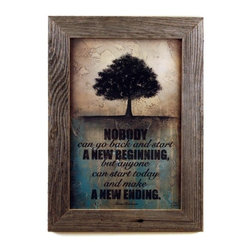 "MyBarnwoodFrames - Make a New Ending Art Print in Rustic Reclaimed Wood Frame,  16x22 - Rustic framed quote: ""Nobody can go back and start a new beginning but anyone can start today and make a new ending."" This quote, attributed to Maria Robinson features a tree in smoky black tones against a distressed tan background with teal and black highlights. Framed in a 2-inch wide reclaimed barnwood frame with natural knots, nailholds and distressing. A beautiful addition to your rustic wall decor."