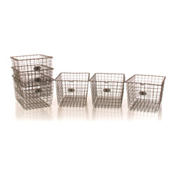 Kathy Kuo Home - Industrial Loft Locker Wire Storage Baskets- Set of 6 - These deep locker baskets bring a stylish sense of order to any chaos within your modern living area or workspace. Their sturdy wire construction holds your office supplies and housewares with ease, while their see-through mesh design makes it easy to identify and grab only what you need. Their angled shape allows for them to be conveniently stacked when not in use.