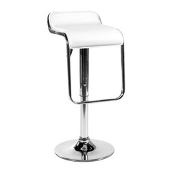 "Eurostyle - Furgus Adjustable Bar Stool in White - Features: -Adjustable H. -Swivel seat. -Leatherette seat. -Chromed steel base and footrest. -Gas lift. Dimensions: -25"" - 34"" H x 14"" W x 16"" D, 28.7 lbs."