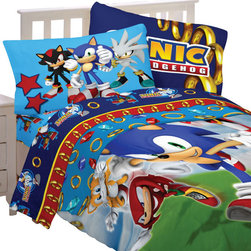 Store51 LLC - Sonic Hedgehog Speed Video Game 4pc Twin Bedding Set - FEATURES: