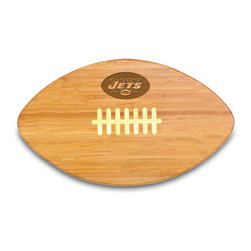 """Picnic Time - New York Jets Touchdown Pro Cutting Board in Natural Wood - The Touchdown! cutting board is a 15"""" x 8.75"""" x 0.75"""" board made of eco-friendly bamboo with a standard football design, with 123 square inches of cutting surface. It can be used as a cutting board or serving tray, or use both sides of the board, one for cutting and the other for serving. The backside of the board is solid dark bamboo. Go long...for the Touchdown! Decoration: Engraved"""