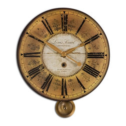 Uttermost - Uttermost Louis Leniel Traditional Wall Clock X-43060 - Weathered, Laminated Clock Face With Brass Accents And Pendulum. Requires 1-AA Battery.