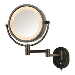 "Jerdon - Lighted 5X Magnifying Wall Mount Mirror - Features: -Wall mount mirror. -Available in: -Bronze finish. -Chrome finish. -Brass finish. -Matte nickel finish. . -Regular and 5X magnification. -Halo lighted. -Extends 14"" from wall. -Plug in wiring. -Double Arm. Specifications: -UL/CUL listed. -Overall dimensions: 15.5"" H x 8"" diameter."