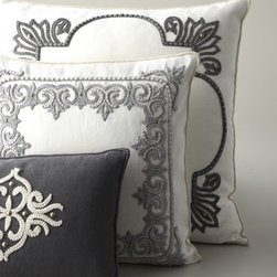 "Horchow - Ivory ""Doily Edge"" Pillow - The striking contrast between creamy ivory and smoky gray creates pillows with designs that really pop to add an elegant touch to any room. Hand-embroidered linen. Designs formed of cording, soutache, and small domed beads. Down inserts. Dry clean....."
