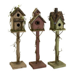 "IMAX - Carthage Standing Birdhouses - Set of 3 - Set of three standing weathered birdhouses in varying colors and shapes, exclusive to IMAX. Item Dimensions: (26""h x 5.5""w x 6.25"")"