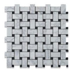 "Tiles R Us - Carrara Marble Polished Basketweave Mosaic Tile with Black Dots - 6"" X 6"" Sample - - Italian Carrara White Marble Polished Basketweave Mosaic Tile with Black Dots."