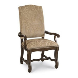 A.R.T. Furniture Coronado Upholstered Arm Chair - Tapestry - Barcelona Walnut - - An intriguing mix of Old World and New, the A.R.T. Furniture Coronado Upholstered Arm Chair – Tapestry – Barcelona Walnut – Set of 2 exudes rustic Spanish elegance through its signature features such as nail head trim and tapestry fabric upholstery. Hardwood solids and walnut veneers are beautifully displayed in the exposed wood back and shapely leg stretchers.About A.R.T. FurnitureFounded in 2003, A.R.T. Furniture creates beautiful, high-quality furniture inspired by architecture and design. Their sophisticated aesthetic draws upon the best of traditional European furniture designs, as well as rustic, coastal, and transitional styles. A.R.T. Furniture is known for its themed collections that reinvent classic forms for the needs of contemporary home decorators. Their dining room, bedroom, entertainment, and living room furnishings are constructed from sustainably forested hardwoods and veneers. A.R.T. Furniture is distinguished by its superior craftsmanship and attention to detail, taking the extra step in the manufacturing process to ensure quality, beauty, and durability for its customers.