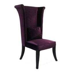 Armen Living - Mad Hatter Dining Chair in Purple Velvet - Use this regal chair in the dining room or the living room. The purple velvet color suits many settings.