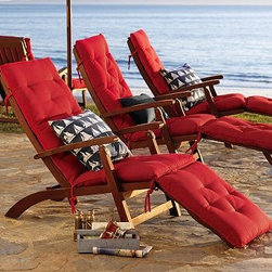 "Chesapeake Steamer Chaise & Cushion - This chaise looks comfortable and classy at the same time. Since the footrest is detachable it can serve as a deck chair or extra seating when you have guests. It has great cushions that come in a variety of colors and is eco-friendly to top it off.24"" wide x 62"" long x 33"" high Crafted of FSC-certified, moisture-resistant eucalyptus. Easily adjusts into 3 comfortable positions."
