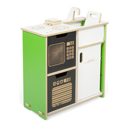 Sprout - Sprout Modern Play Kitchen Set, Green - The Sprout Play Kitchen was designed to inspire imagination and creative play in your kids.  The play kitchen includes a stove top, toaster, sink, microwave, oven, and fridge as well as two slices of bread and a cutting board.