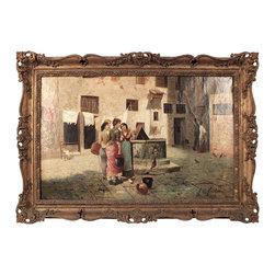 A. del Vecchio, Town Women, Oil on Canvas - The HighBoy, Castle Antiques & Design.