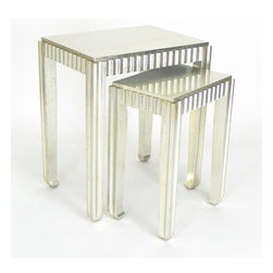 Wayborn - Sienna 2 Pc Nesting Table - Chinese Oakwood. Made from genuine silver containing no gold or other alloys. Silver leaf finish. 19 in. L x 14 in. W x 22 in. H (30 lbs.)