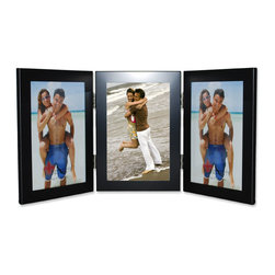Lawrence Frames - Black 4x6 Hinged Triple Metal Picture Frame - Contemporary matte black aluminum metal frame.  Beautiful black velvet backing for table top display.  High quality 4x6 hinged triple metal picture frame is made with exceptional workmanship and comes individually boxed.