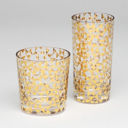 Gold Triangles Drinking Glass - These gold metallic glasses are a fun way to toast the holidays.