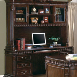 Coaster - Walnut Traditional Desk - This large scale home office collection in a rich walnut finish features detailed carvings found throughout each poiece. Desk features felt-lined top drawers, keyboard drawer, and storage for your computer. Hutch features ball bearing glides, power strip, and task lighting.