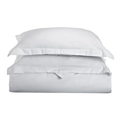 600 Thread Count Cotton Rich Full/Queen Ivory Duvet Cover Set, White - Cotton Rich 600 Thread Count Full/Queen White Duvet Cover Set