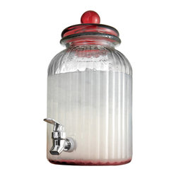 Jay Import Co - Springfield Glass Beverage Dispenser, Red - As attractive as it is practical, this beverage dispenser will get plenty of use around your home. It holds a hefty 1.3 gallons and, with its vertical bands and richly colored lid, looks great doing it.