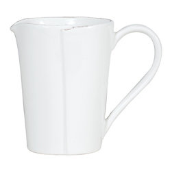 """Vietri - Vietri Italian Stoneware 7""""H Lastra Pitcher, White - The Lastra pitcher is perfect to mix up a batch of mimosas and serve a sophisticated brunch or fill with fresh flowers for a first-class centerpiece. Made in Tuscany of Italian stoneware. Microwave, freezer, dishwasher and oven safe and highly resistant to chipping."""