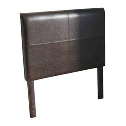 Kinfine - Leather Twin Headboard - Add an elegant touch to any bedroom with this chocolate faux leather twin headboard.
