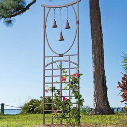 Three-Bell Trellis - This Asian inspired trellis has great details that make it stand out. The bells will sound great in the wind and it's perfect for vines. Plant an evergreen clematis to have greenery year round and beautiful flowers during the summer.