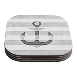 """Kess InHouse - Monika Strigel """"Stone Vintage Anchor Gray"""" White Grey Coasters (Set of 4) - Now you can drink in style with this KESS InHouse coaster set. This set of 4 coasters are made from a durable compressed wood material to endure daily use with a printed gloss seal that protects the artwork so you don't have to worry about your drink sweating and ruining the art. Give your guests something to ooo and ahhh over every time they pick up their drink. Perfect for gifts, weddings, showers, birthdays and just around the house, these KESS InHouse coasters will be the talk of any and all cocktail parties you throw."""
