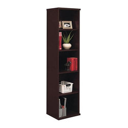 Bush Business - Adjustable & Fixed Shelf Bookcase in Mocha Ch - Sleek black beauty done in classic mocha cherry finishing gives your room a modern look while providing an excellent place to organize your books and novels. Additional feature of this bookcase is that it accepts one door, hinged on either side, in lower position. To add a touch of accent or needed shelving in tighter office quarters, consider the slender yet sturdy Open Single Bookcase ��� Cameo. Finished in rich mocha, it holds five shelves, three of which are adjustable, and has a full back. The five shelves maximize your storage space, allowing a surprising number of books and files to be stored in its thin, elegant lines. * Two fixed shelves for stability. Three adjustable shelves for flexibility. Matches 71 in. Hutch in height and depth. Mocha Cherry finish. 18 in. W x 15 D in. x 73 in. H