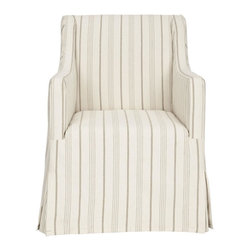 Safavieh - Sandra Slipcover Chair - From shabby-chic to chic sophistication, the neatly tailored Sandra slipcover chair is styled for transitional and traditional interiors. Gently sloping arms and invisible, but sturdy birch wood legs with java finish insure seating comfort. The updated, over scale mattress ticking stripe in beige and cream linen is detailed with front and back kick pleats.