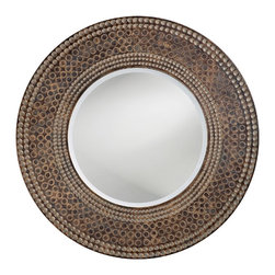 "Lamps Plus - Contemporary Antique Oak and Maple Finish Round 35"" Wide Wall Mirror - This sophisticated wall mirror features a complex finish and a textured look. The beaded frame is presented with an antique faux maple and oak wood finish. This glamorous design will add style and dimension to any room. Antique faux maple and oak wood finish. Resin construction. 35"" round.  Antique faux maple and oak wood finish.   Resin construction.   35"" round."