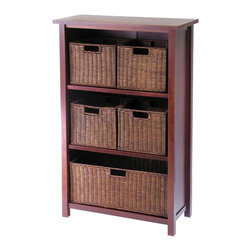 Winsome Wood - Antique Walnut Storage w 4 Small Baskets & 1 - This storage shelf is finished in antique walnut stain and it features three smart compartments that can store five rattan baskets.  This set includes four small baskets and one large basket that provides ample storage for a stylish, earthy look. * Constructed of solid tropical hardwoodWalnut stain finish. 43 in. H x 28 in. W x 13 in. D