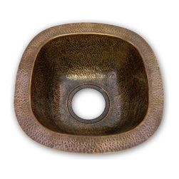 Houzer - Hammerwerks Schnapps Bar-Prep Sink Flat Lip - Bar Prep Sink/ Flat Lip. Antique Copper finish. 9.5 in. x 9.5 in. inner dimension with a 4.5 in. depth. 3.5 in. drain size. Bowl Interior: 9.5 in. x 9.5 in. x 4.5 in. deep.. Hand Hammered Copper. Flat Flip. 12.5 in. W x 12.5 in. H x 4.5 in. D