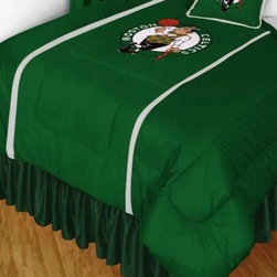 Sports Coverage - Sports Coverage NBA Boston Celtics Sideline Bedding - Comforter - Full - NBA Boston Celtics Sideline Comforter looks and feels like a real jersey! A must have for any true fan. New Design - Same great quality! Show your team spirit with this great looking officially licensed Comforter which comes in a new design with sidelines. This Comforter is made from 100% Polyester Jersey Mesh - just like what the players wear. The fill is 100% Polyester batting for warmth and comfort. Each comforter has the authentic team logo screen printed in the center.   Features:  - 100% Polyester Jersey top side,   - Poly/Cotton bottom side,   - Filled with 100% Polyester Batting,   - Logos are screenprinted ,   - Machine washable in warm water,   -  Tumble dry on low heat. ,