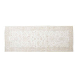 1800-Get-A-Rug - White Wash Oushak Wide Runner Hand Knotted Rug Sh11939 - About Oushak and Ziegler Mahal