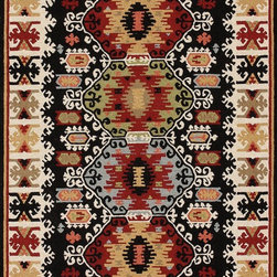 """Loloi Rugs - Loloi Rugs Taos Collection - Black, 3'-6"""" x 5'-6"""" - The Taos Collection tells the story of updated tribal kilims in an unexpected hand-hooked-polyester construction from China. While paying homage to popular nomadic kilim patterns, Taos infuses an updated palette and textured hooked surface for a hip, youthful take on this classic category."""