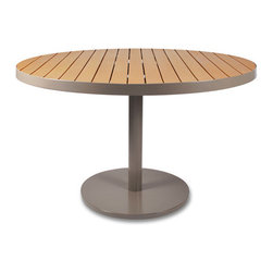 Thos. Baker - cafe 47-inch round table (taupe w/ teak ROM) - Our cafe collection tables feature powder-coated aluminum frames with high-tech recycled outdoor material (ROM) slats. a thos. baker exclusive in the US, ROM is the most natural looking recycled furniture material in the world today with a proprietary finishing process that seals and protects its authentic look.