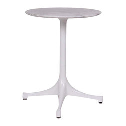 "Stilnovo Nelson Marble Swag Table , White Marble/White Base - The Swag Marble table has a round 17"" diameter marble top supported by a glossy black or white powder coated aluminum, pedestal frame that finishes off by curving into four feet."