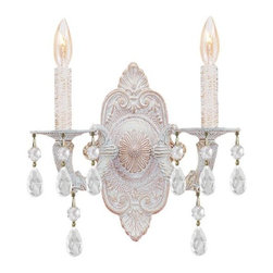 Joshua Marshal - Sutton Collection Two Light Antique White Murano Crystal Glass Wall Light - Two Light Antique White Murano Crystal Glass Wall Light