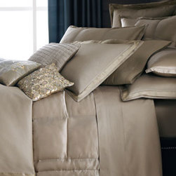 Donna Karan Home - Donna Karan Home Modern Classics Full/Queen Quilt - Silk accented with a tufted border; backed with cotton sateen. Dry clean. Select color when ordering.