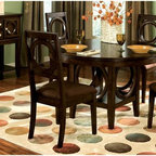 Standard Furniture - Coterno 6 Pc Dining Set in Brown Cherry Finis - Set includes table, 4 side chairs and server. Sideboard offers space for storing table side items. Shelf on bottom of sideboard offers a place to display decorative items. Surfaces clean easily with a soft cloth. Quality veneers over wood products and select solids used throughout. May contain some plastic parts. Microfiber seat cushion in Dark Brown finish. Knobs in Brushed Nickel finish. Brown Cherry finish. Table: 48 in. L x 48 in. W x 30 in. H (99 lbs.). Server: 50 in. W x 18 in. D x 38 in. H (123 lbs.). Chair height: 40 in.. Chair weight: 21 lbs.The circle shape design on chair backs, table base, and door of server make a perfect focal point for entire suite.