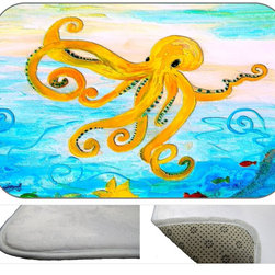 Yellow Octopus Deco Plush Bath Mat, 30X20 - Bath mats from my original art and designs. Super soft plush fabric with a non skid backing. Eco friendly water base dyes that will not fade or alter the texture of the fabric. Washable 100 % polyester and mold resistant. Great for the bath room or anywhere in the home. At 1/2 inch thick our mats are softer and more plush than the typical comfort mats.Your toes will love you.