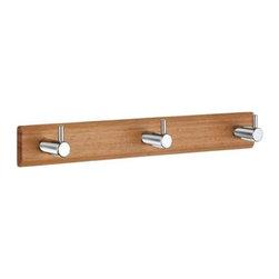 Beslagsboden - Triple Coat Rack in Stainless Steel Finish - Hook height: 1.37 in.