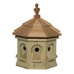 Fifthroom - Goldfield Gazebo Birdhouse - Birds will feel right at home in our Goldfield Gazebo Birdhouse.  Available in two sizes, it's spacious enough so that, no matter how big their family gets, they'll never have to add another wing.  Made from decay-resistant wood, this house will keep them safe, warm, and comfortable for years.  In fact, it's so durable that their children and grandchildren will be coming home to roost for many holidays to come.  That way, they'll never have to suffer from empty nest syndrome.